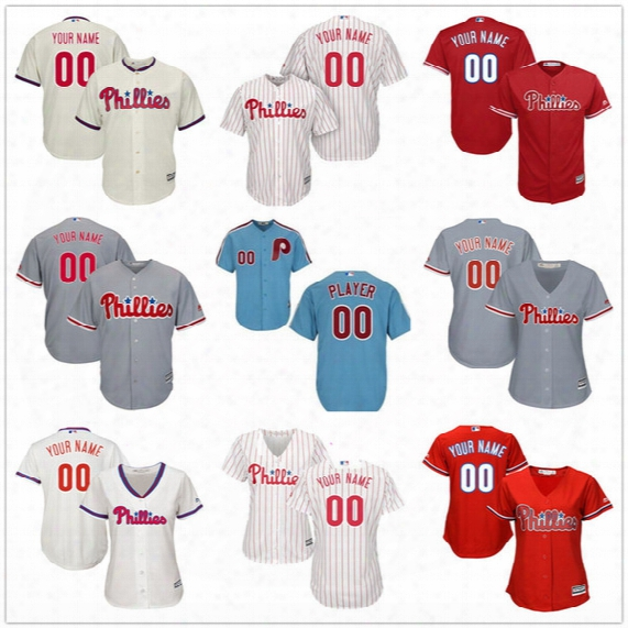 Customized Philadelphia Phillies Mens Womens Youth Kids Gray Road White Cream Red Blue Vintage Sewn On Your Own Name Number Jerseys S,4xl