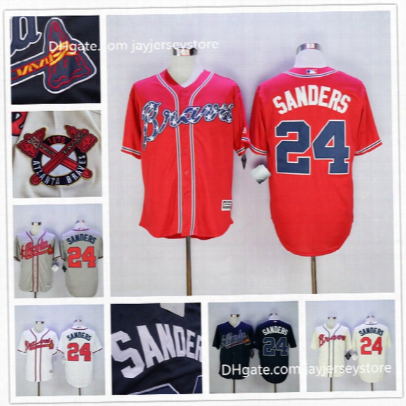 Deion Sanders Baseball Jersey 24# Atlanta Braves Grey Blue White Red Cream