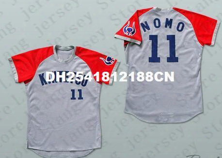 Deluxe Edition Mens #11 Kintetsu Nomo Japan Baseball Jersey Grey Or Customize Any Number Any Name Embroidery Jerseys
