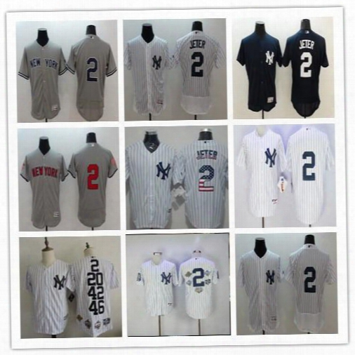 Derek Jeter Cheap Jersey 2 New York Yankees Throwback White Pinstripe Grey Green Dark Blue Ny Derek Jeter Baseball Retirement Jerseys Good