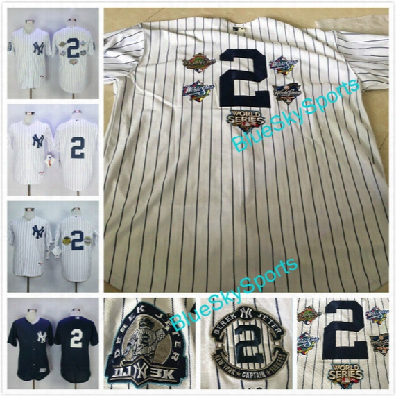 Derek Jeter Jersey With Retirement Patch New York Yankees Baseball Jerseys #2 Home White Pinstripe Cool Base Stitched