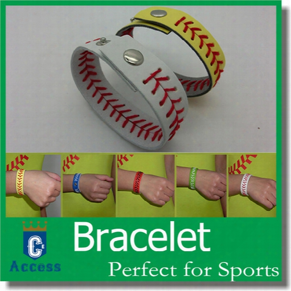 Discount Cheapest Real Leather Yellow Softball Seam Bracelets And White Base6all Seam Bracelet With Free Shipping