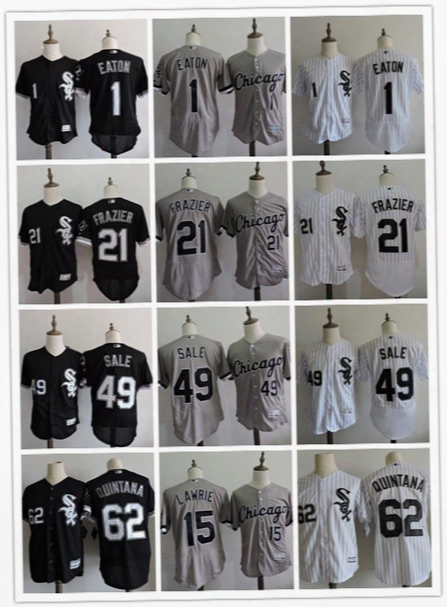 Discount Mens Chicago White Sox #1 Adam Eaton 21 Todd Frazier 49 Chris Sale 62 Jose Quintana 15 Brett Lawrie Top Stitched Black Gray Jerseys