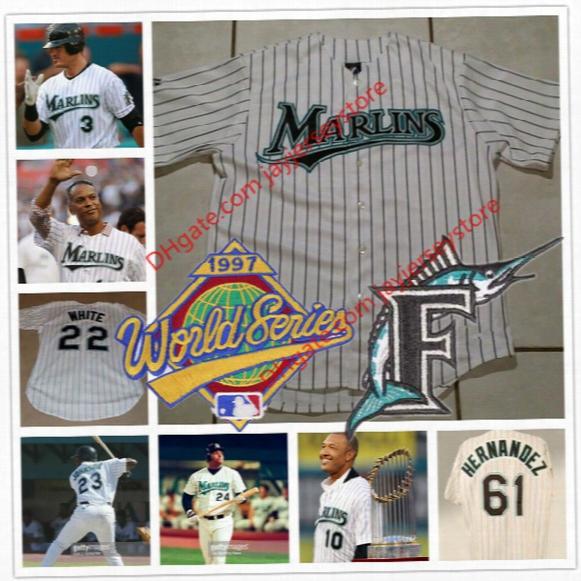 Florida Marlins 1997 World Series Jersey Livan Hernandez Gary Sheffield Gregg Zaun Edgar Renteria Moises Alou Bobby Bonilla Charles Johnson