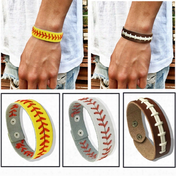 Football Softball Baseball Leather Bracelets Wristlets Wristbands Stitches Sports Team Colors Gifts Game Wear Sports Accessories