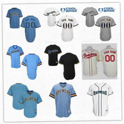 Free Shipping Cheap 2017 New Men's Custom Blank Milwaukee Brewers Baseball Cooperstown Collect Ion Jersey Stitched Size S-6xl