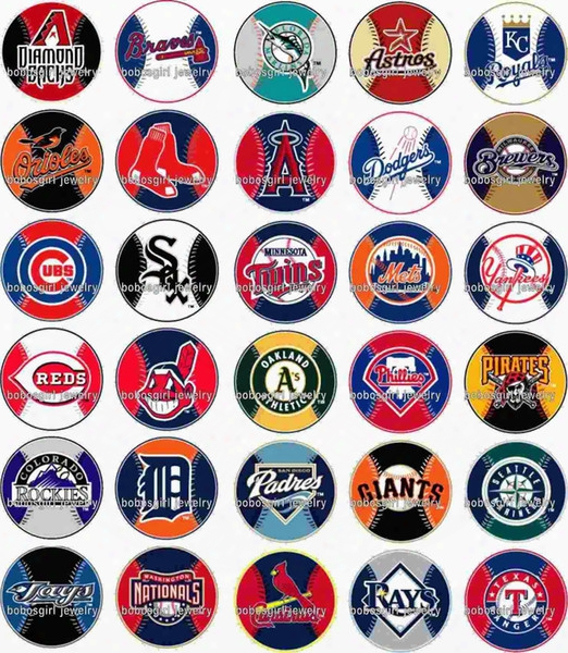 Free Shipping Mlb Baseball 30pcs / Lot Glass Snap Button Jewelry Charm Popper For Bracelet Gl1302 Jewelry Making