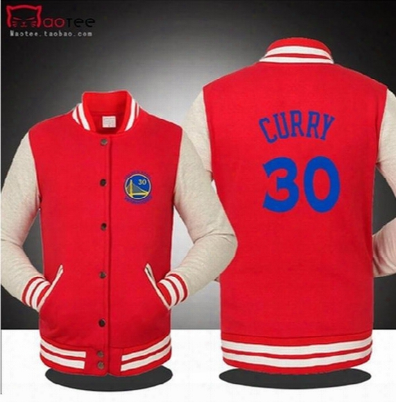 Free Shipping Wholesale Basketball Golden State Curry Warrior Spring Fall Winter Jacket Lover`s Sweatshirt Baseball Uniform For Man 5 Colors
