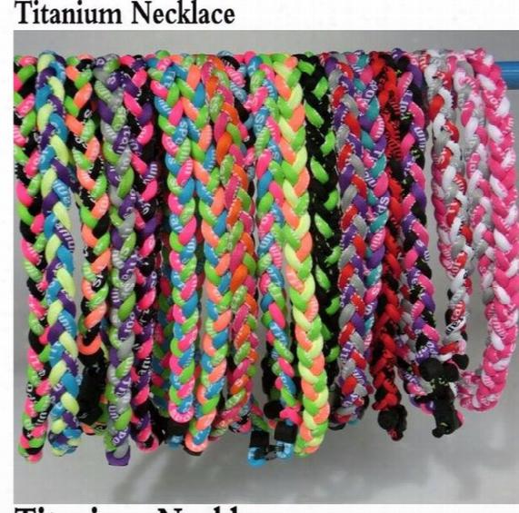 "Germanium Titanium 3 Ropes Necklace Tornado Braided Sports Football Baseball New Tornado Pendant Healthy Fashion Body Jewelry 18"" 20""22"""