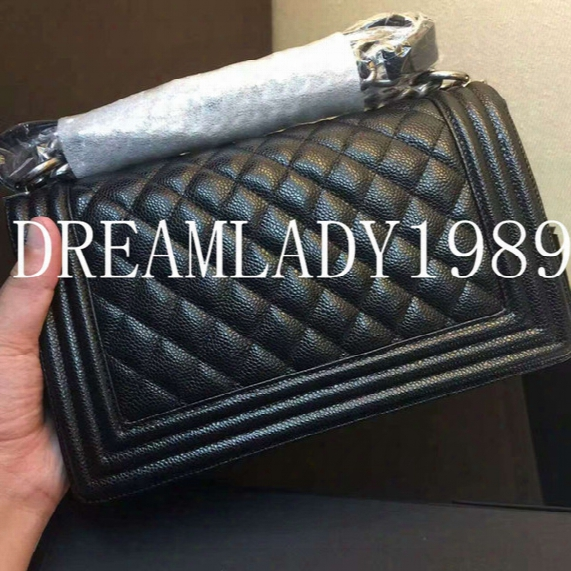 High Quality 25.5cm Black Lampskin Caviar Genuine Leather Flap Shoulder Bag Famous Brand Designer Handbags Women Bags Vintage Silver Chain
