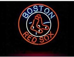 "Hot Boston Red Sox Logo Neon Sign Handicrafted Real Glass Tube Baseball Game Room Advertising Display Neon Signs Free Design 19""x15"""