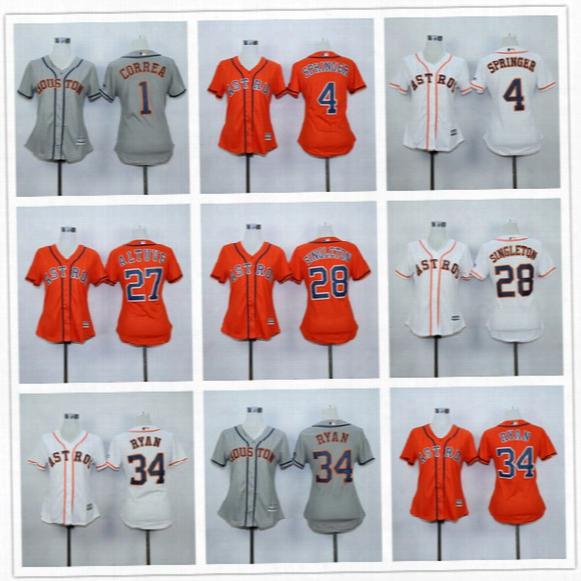 Houston Astros Women Jersey Girls Carlos Correa George Springer Jose Altuve Nolan Ryan White Orange Grey
