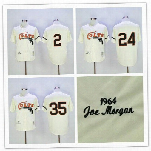 Houston Colts Throwback Baseball Jersey Retro 35 Joe Morgan 2 Nellie Fox 24 Jimmy Wynn Vintage 1964 Turn Back Stitched Jersey Free Shipping