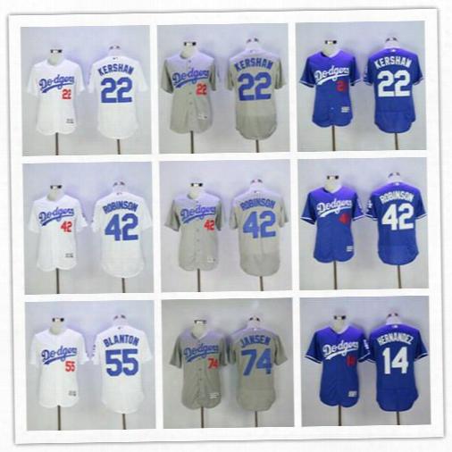 La Dogers 22 Clayton Kershaw 42 Jackie Robinson 55 Blanton 74 Kenley Janse 34 Valenzuela 23 Gibson Men Baseball Jersey New Design