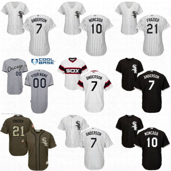 Lady And Youth White Sox Jerseys 7 Tim Anderson 10 Yoan Moncada 20 Tyler Saladino 21 Todd Frazier 45 Derek Holland Baseball Jersey