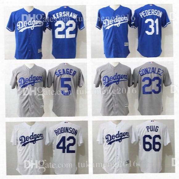 Los Angeles Dodgers 22 Clayton Kershaw Adrian Gonzalez Baseball Jerseys 5 31 42 66 23 Corey Seager Joc Pederson Jackie Robinson Yasiel Puig