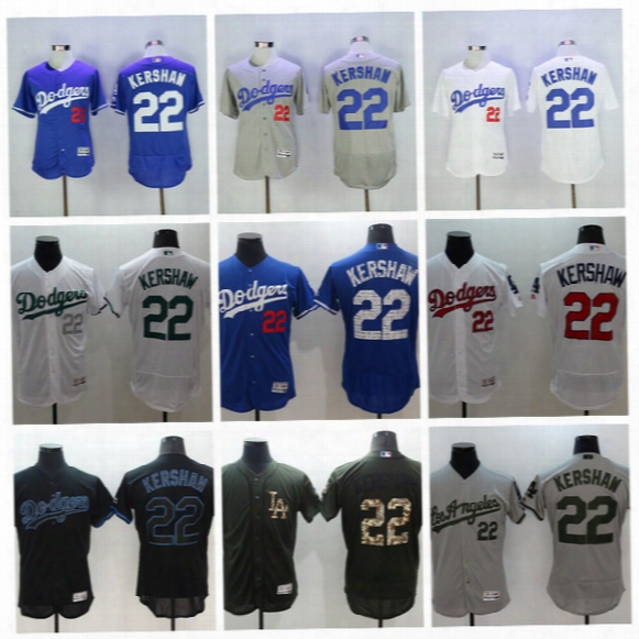 Los Angeles Dodgers 22 Clayton Kershaw Baseball Jersey Cool Base Fashion Stars Clayton Kershaw 2017 Memorial Day Spring Training Jersey