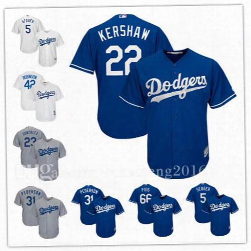 Los Angeles Dodgers Baseball Jerseys 22 Kershaw 35 Bellinger 5 Seager 31 Piazza 23 Gonzalez 42 Robinson 66 Puig Jerseys