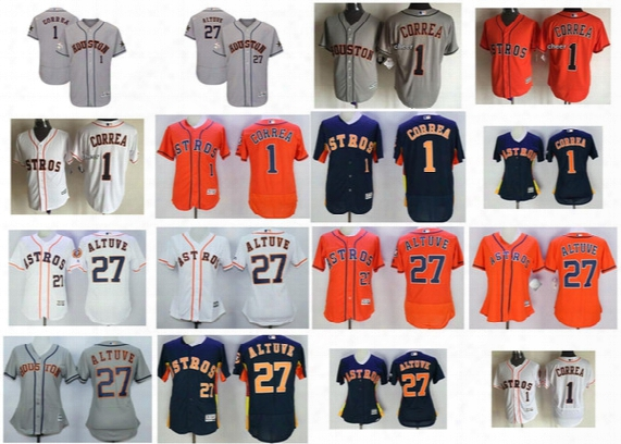 Male Female Youth 2017 Mlb All-star Houston Astros Carlos Correa Jose Altuve Flex Cool Baseball Jerseys Xs-6xl Grey Orange White Blue