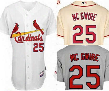 Mark Mcgwire Jersey St. Louis Cardinals 25 Mark Mcgwire Cool Base Jersey White Grey Cream