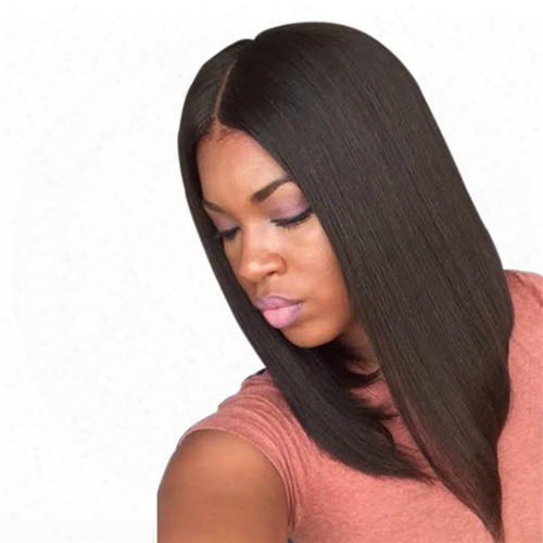 Medium Long Straight Black Brown Syntjetic Hair Wigs Fashion Medium Side Bang With Free Hair Net