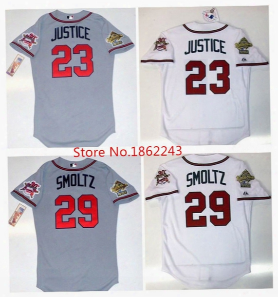 Men 29 John Smoltz Jersey 1995 World Series Atlanta Braves Jerseys 23 David Justice #10 Jones With 30th Retro T Hrowback Baseball Jerseys