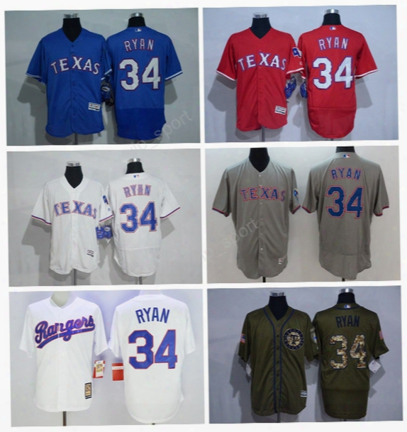 Men 34 Nolan Ryan Texas Rangers Jerseys Flexbase Baseball Nolan Ryan Jersey Cool Base Usa Flag Salute To Service Green Blue Gray Red White