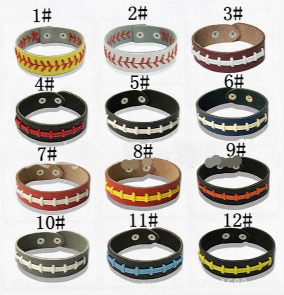 Men And Women Leather Hand Rope Woven Bracelet General Softball Baseball Sports Bracelet