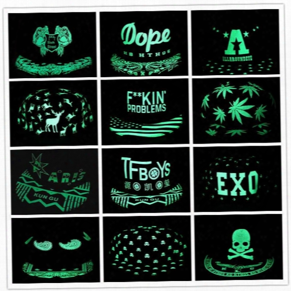 Men Women Baseball Cap Hip Hop Glow Eyes Graffiti Maple Leaf Fluorescent Hat Hip-pop Cap Hat Snapback Luminous Black Ball Caps Y#145