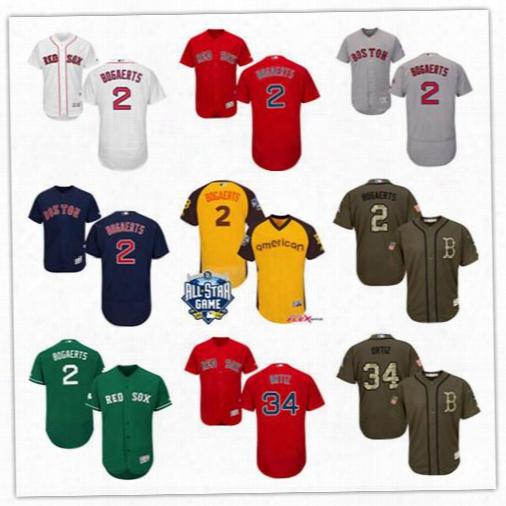 Men's 2 Xander Bogaerts Majestic Boston Red Sox Flexbase Collection 34 David Ortiz Cool Base Baseball Jerseys Stitched Red White Black