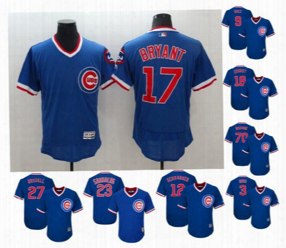 Men's Chicago Cubs #17 Kris Bryant #44 Anothony Rizzo Blue Flexbase Cooperstown Stitched Baseball Jersey Size M-xxxl