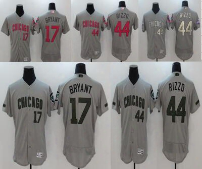 Men's Chicago Cubs Jersey Kris Bryant Anthony Rizzo Majestic Gray 2017 Memorial Day Authentic Collection Flex Base Baseball Jerseys