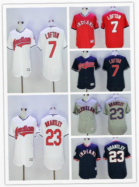 Men's Cleveland Indians 7 Kenny Lofton 23 Michael Brantley Blue Throwback Baseball Jerseys Stitched Free Shipping