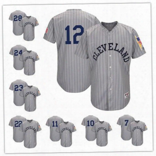 Men's Cleveland Indians Majestic Gray 12 Lindor 23 Brantley 24 Miller 28 Kluber 11ramirez 1917 Turn Back The Clock Authentic Team Jersey