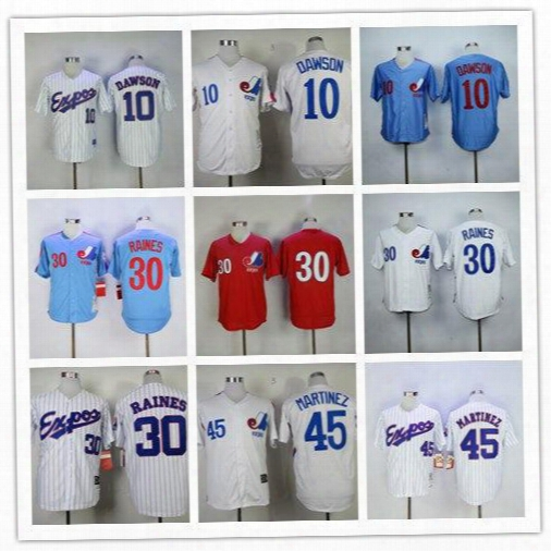 Men's Montreal Expos Jersey 10 Andre Dawson 30 Tim Raines 45 Pedro Martinez 982 2000 Throwback Baseball Jerseys Wear Athletic Mix Orders