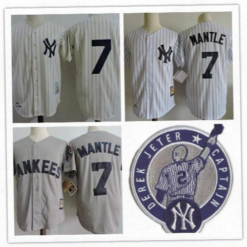 Men's New York Yankees #7 Mickey Mantle Cream Pinstripe 1951 Throwback Cooperstown Collection Stitched Mlb Mitchell & Ness Jersey