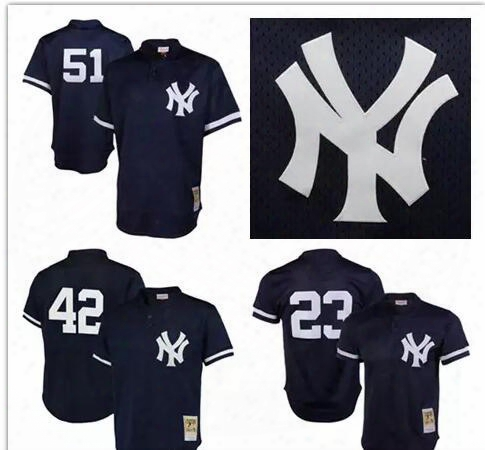 Men's New York Yankees Bernie Williams Rivera Mitchell &  Ness Navy Cooperstown Mesh Batting Practice Jersey Embroidery Logos Free Shipping