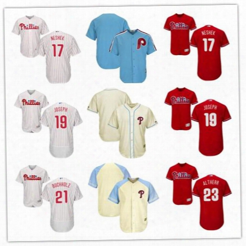 Men's Philadelphia Phillies 17 Pat Neshek 18 Darin Ruf 19 Tommy Joseph 21 Clay Buchholz 23 Aaron Altherr Baseball Jerseys Size S-6xl