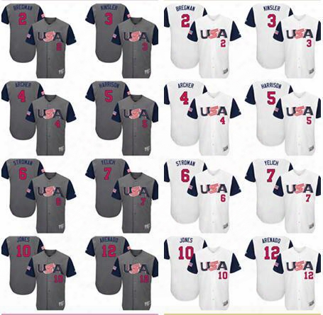 Men's Team Usa #2 Alex Bregman 3 Ian Kinsler 4 Chris Archer 5 Josh Harrison Gray White 2017 World Baseball Classic Stitched Jerseys