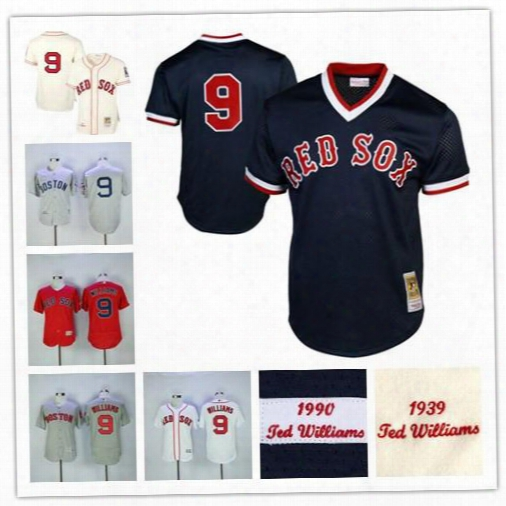Men's Ted Williams Boston Red Sox 1990 Authentic Cooperstown Felx Jersey Navy Blue 1939 Cream Grey Throwback Jersey Stitched