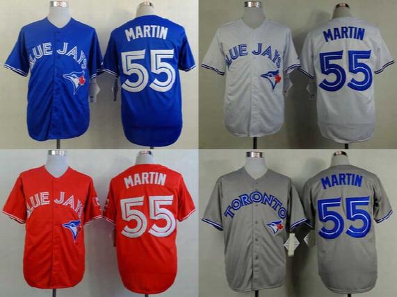 Men's Toronto Blue Jays Jerseys #55 Russell Martin Baseball Jersey,100% Embroidery Names & Logos,size M-xxxl