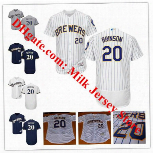 Men's Women Youth #20 Lewis Brinson Jersey Milwaukee Brewers Baseball Jerseys Navy Grey White Home Cool Base