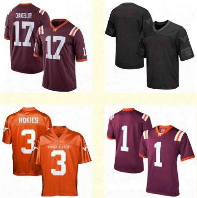 Men's Women Youth/kids Virginia Tech Hokies Red Black Orange Personalized/customized Ncaa Jersey Any Name Any Number Top Quality Wholesale