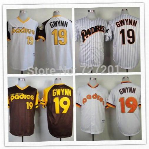 Men's Women's Children's Cheap Sitched San Diego Padres 19 Tony Gwynn Cool Baseball Jerseys White Brown Size S~xxxl Free Shipping Mix Order