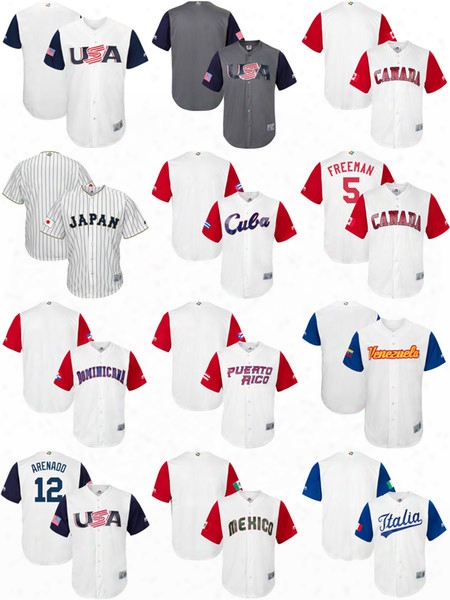 Men's Women's Kid's Usa Canada Japan Mexico Italy Cuba Venezuela Puerto Rico Baseball 2017 World Classic Custom Personalized Any Name Jersey