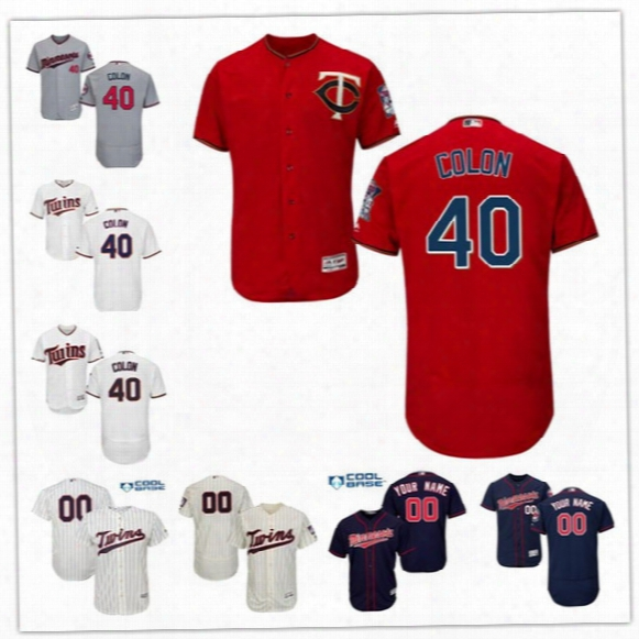 Mens 2017 New Trade Minnesota Twins #40 Bartolo Colon White Home Navy Blue Gray Road Cream Red Pinstripe Cool Flex Base Stitched Jerseys