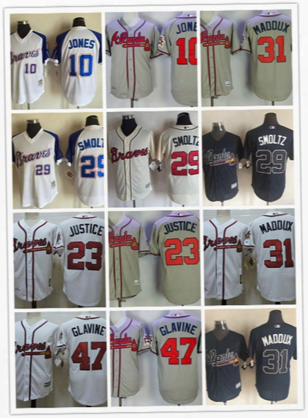 Mens Atlanta Braves John Smoltz 1995 World Series Jerseys Chipper Jones David Justice Greg Maddux Tom Glavine Braves Throwback Jersey S-3xl
