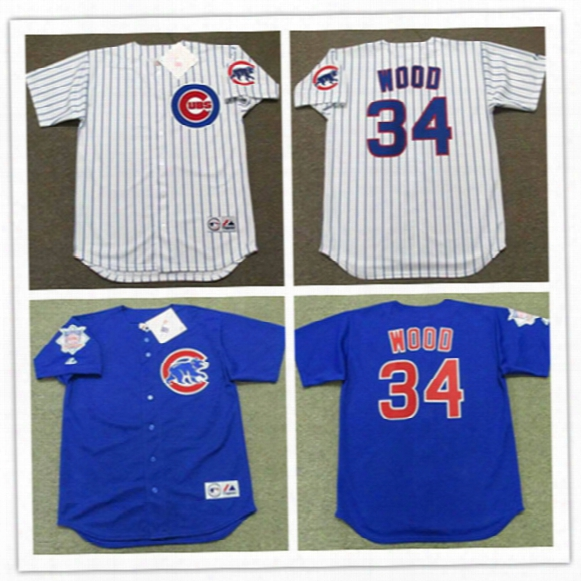 Mens Cheap Chicago Cubs Kerry Wood Throwback Jersey 2003 Blue #34 Kerry Wood Cubs 2017 White Gold Program Cool Base Baseball Jersey S-3xl