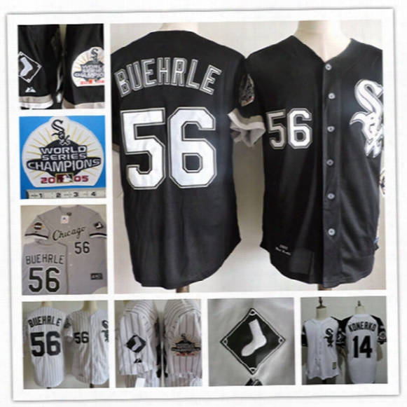 Mens Cheap Chicago White Sox 14 Paul Konerko Throwback Cooperstown Jersey Gray Black 56 Mark Buehrle 2005 World Series Baseball Jersey S-3xl