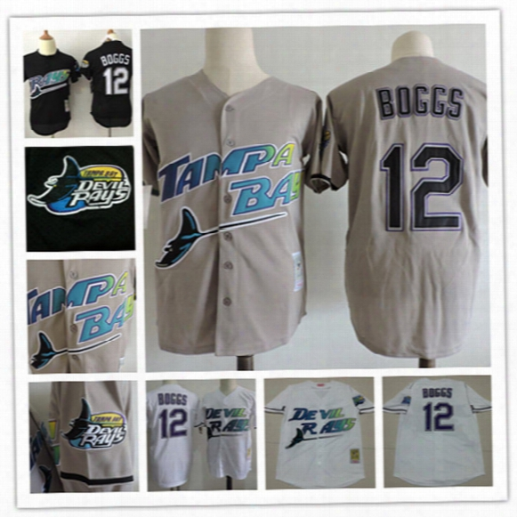 Mens Cheap Tampa Bay Rays 1998 White Cooperstown Vintage Jersey Stiched #12 Wade Boggs Rays Black Mesh Bp Pullover Throwback Jersey S-3xl
